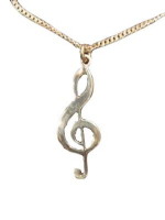 Treble clef on 18inch silver chain